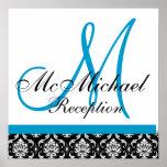 Blue Damask  Monogram Wedding Reception Poster