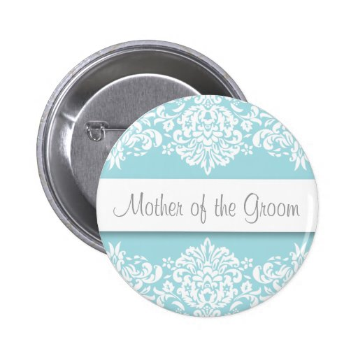 Blue Damask Mother of the Groom Button
