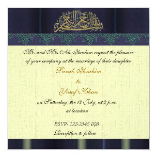Blue Damask Muslim wedding Card