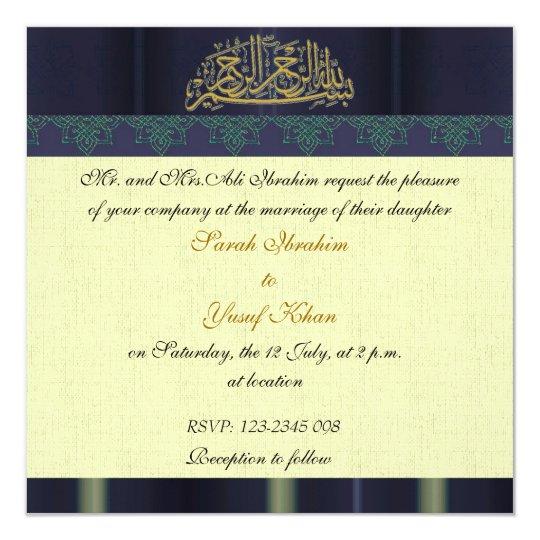 Blue damask muslim wedding card zazzlecom for Free printable muslim wedding invitations