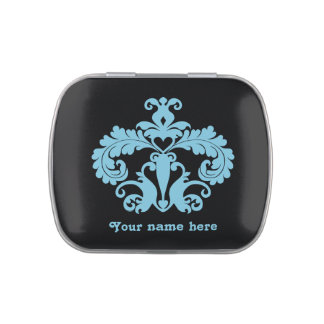 Blue damask on black personalized jelly belly tins