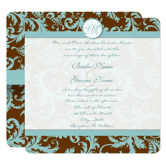 Blue Damask on Brown Wedding Invitation