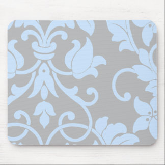 Blue Damask on Gray Mouse Mat