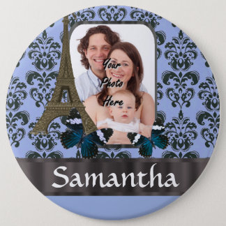 Blue damask Paris collage Button
