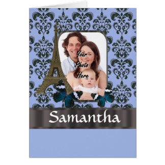 Blue damask Paris collage Card