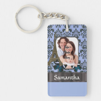 Blue damask Paris collage Keychain