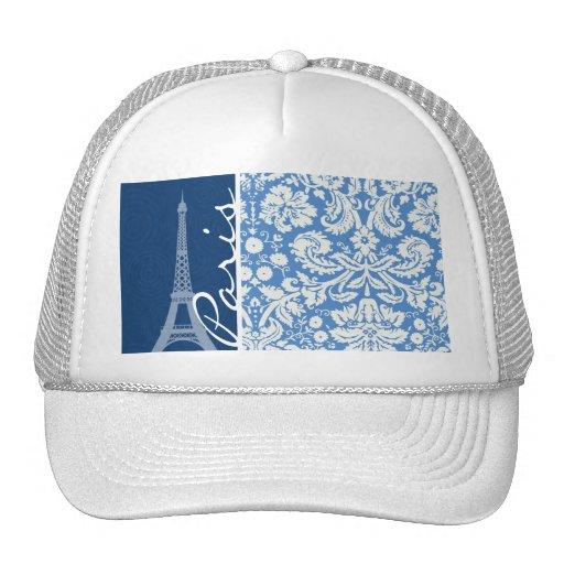 Blue Damask; Paris Mesh Hats