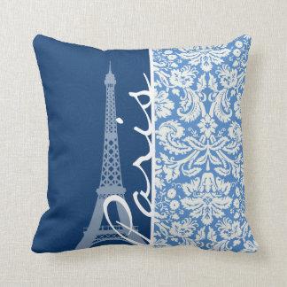 Blue Damask; Paris Throw Pillow