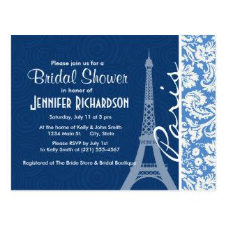 Blue Damask; Paris Postcard