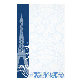 Blue Damask; Paris Stationery