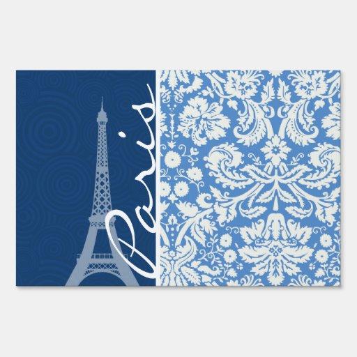Blue Damask; Paris Lawn Sign