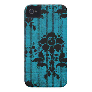 Blue Damask Pattern BlackBerry Barely There Case Case-Mate iPhone 4 Cases