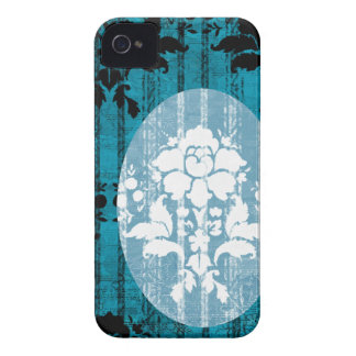 Blue Damask Pattern BlackBerry Barely There Case Case-Mate iPhone 4 Case