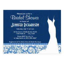 Blue Damask Pattern Postcard
