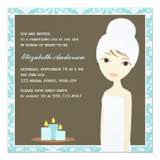 Blue Damask Pattern Spa Bridal Shower 5.25x5.25 Square Paper Invitation Card