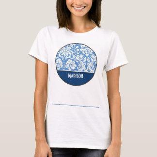 Blue Damask Pattern T-Shirt