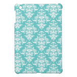 Blue damask pattern vintage girly chic chandelier iPad mini case