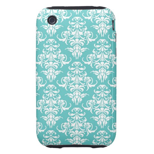 Blue damask pattern vintage girly chic chandelier iPhone 3 tough cover