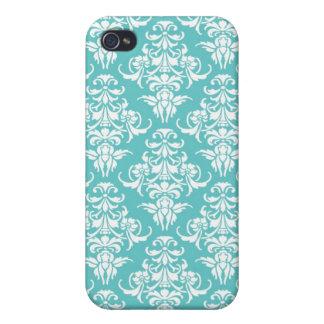 Blue damask pattern vintage girly chic chandelier iPhone 4 case