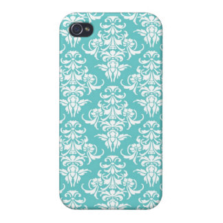 Blue damask pattern vintage girly chic chandelier iPhone 4 cases