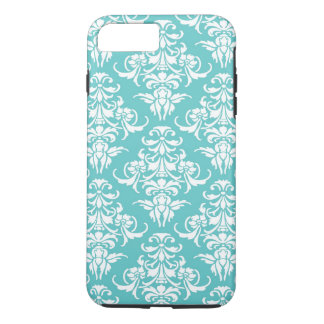 Blue damask pattern vintage girly chic chandelier iPhone 7 plus case