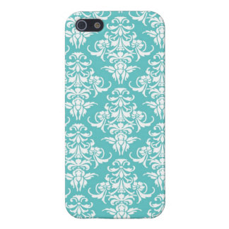 Blue damask pattern vintage girly chic chandelier iPhone SE/5/5s cover