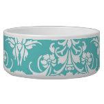 Blue damask pattern vintage girly chic chandelier dog water bowls