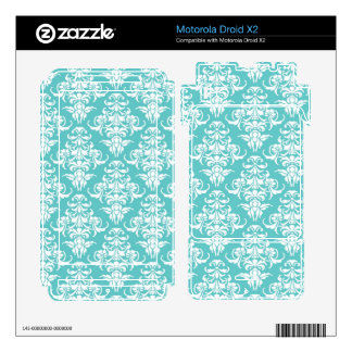 Blue damask pattern vintage girly chic chandelier motorola droid x2 decal
