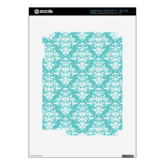 Blue damask pattern vintage girly chic chandelier decal for iPad 3