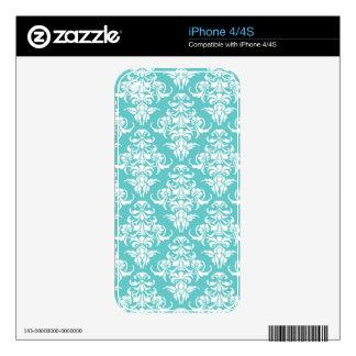 Blue damask pattern vintage girly chic chandelier skin for iPhone 4