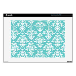Blue damask pattern vintage girly chic chandelier decals for laptops
