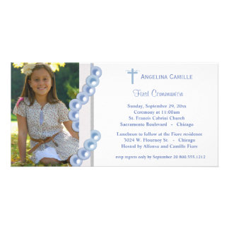 Blue Damask Pearls First Communion Photo Invite