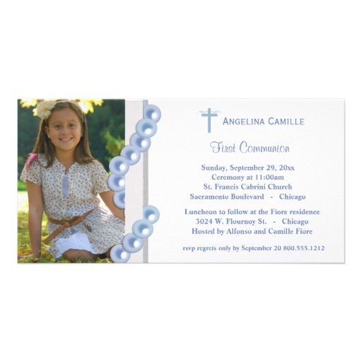 Blue Damask Pearls First Communion Photo Invite Photo Card