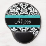"Blue Damask Personalized Gel Mouse Pad<br><div class=""desc"">Show off your personal style in  a fun way with this black and white damask print with blue accent personalized mousepad.</div>"