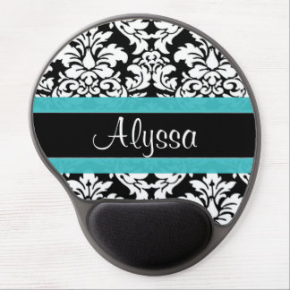 Blue Damask Personalized Gel Mouse Pad