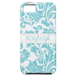 Blue Damask Personalized iPhone SE/5/5s Case