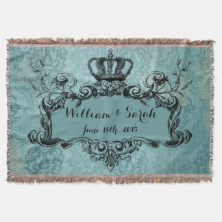 Blue Damask Personalized Wedding Royal Crown Throw