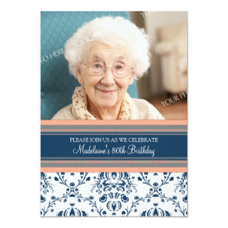 Blue Damask Photo 80th Birthday Party Invitations