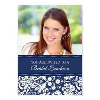 Blue Damask Photo Bridal Luncheon Invitation Card