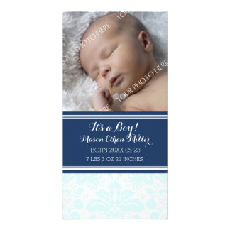 Blue Damask Photo New Baby Birth Announcement