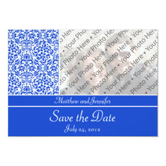 Blue Damask Photo Save the Date Announcement Custom Invites
