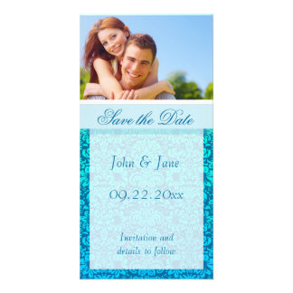 "Blue Damask/photo  ""Save the Date"" Card"