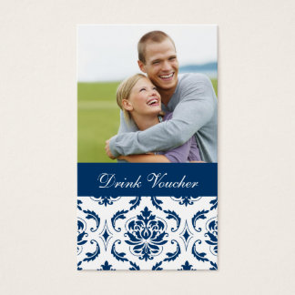 Blue Damask Photo Wedding Drink Voucher Business Card