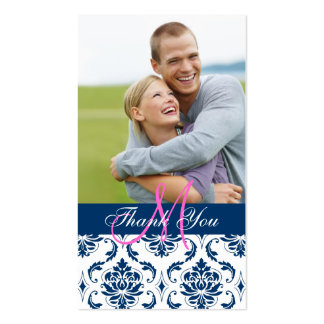Blue Damask Photo Wedding Thank You Favor Tag Business Card