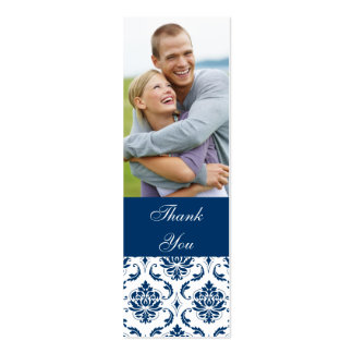 Blue Damask Photo Wedding Thank You Favor Tag Mini Business Card