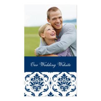 Blue Damask Photo Wedding Website Card