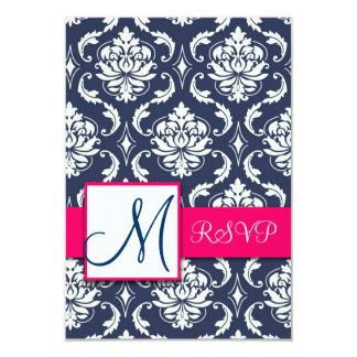 Blue Damask Pink RSVP Cards for Square Invites