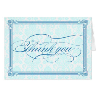 Blue Damask Poster-Style Thank You Card