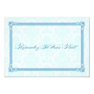 Blue Damask Poster-Style Wedding RSVP Custom Invites