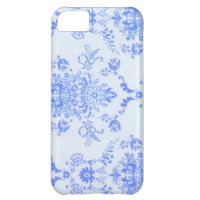 Blue Damask Pretty Print iPhone 5C Cases